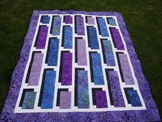 Purple and Blue Batik Shadow Box - Quilt Monster in my Closet