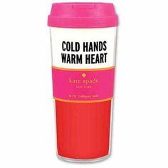 Kate Spade New York Acrylic Insulated Travel Tumbler Mug - Cold Hands Warm Heart Thermal Travel Mug, Thermal Mug, Office Candy, Cute Office Supplies, School Supplies, Kate Spade Gifts, Mug Warmer, Insulated Cups, Winter Drinks