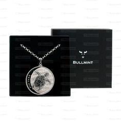 2013 Fiji Silver Hawksbill Turtle Taku 1oz Pendant- COIN EDGE in a Bullmint display box