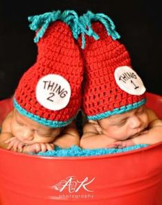 Baby Twins Hat Thing 1 and Thing 2 Crochet by OopsIKnitItAgain - How cool?  Photograph baby (or babies) in a Christmas stocking!!!