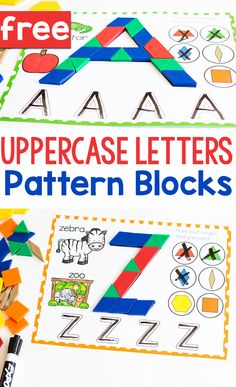 Free printable Uppercase Letter Pattern block mats for your preschool, pre-k and kindergarten litera Alphabet Kindergarten, Prek Literacy, Teaching The Alphabet, Kindergarten Centers, Preschool Letters, Learning Letters, Preschool Writing Centers, Beginning Kindergarten, Early Finishers Kindergarten