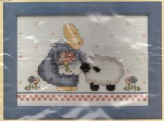 Farm Bunny with Sheep Counted Cross Stitch Kit with Frame Daisy Kingdom