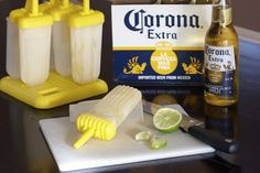 Open a CORONA and pour it into a popsicle mold. You can squeeze some lime into mold and/or add a lime slice, if you'd like. Freeze for hours or until it becomes solid. One bottle of corona makes around 3 popsicles. Fun Drinks, Yummy Drinks, Beverages, Mixed Drinks, Alcoholic Drinks, Good Food, Yummy Food, Tasty, Gelato