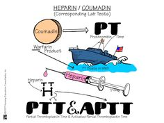 Heparin – Coumadin (Responding Lab Tests) Partial thromboplastin time (PTT) and activated partial thromboplastin time (aPTT) are used to test for the same functions; however, in aPTT, an activator is added that speeds up the clotting time and results in a narrower reference range. The aPTT is considered a more sensitive version of the PTT and is used to monitor the patient's response to heparin therapy.