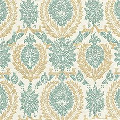 """Thibaut Cypress - Haleema - Fabric - Aqua and Beige    I'm not fond of matchy-matchy patterns or designs.  The scale of this fabric (18"""" H and V repeats) complements the large scale of the wallpaper (27"""" x 27"""" repeat), and the strong use of the beige makes the Orissa wallpaper seem even more interesting."""