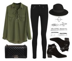"""""""Style #10701"""" by vany-alvarado ❤ liked on Polyvore featuring WithChic, Yves Saint Laurent, Chanel and Boohoo"""