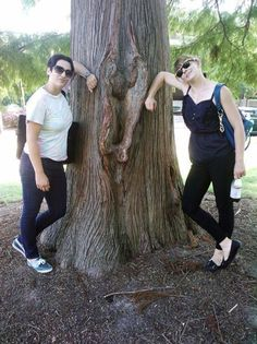 "Halley & Monica with what they refer to as ""The Receiving Tree""."