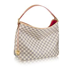 Discover Louis Vuitton Delightful MM: The Delightful MM embodies everyday elegance. In supple yet resistant Damier Azur canvas, its lightweight feel, generous interior and luxuriously soft embossed handle make it chic and practical. Canvas Handbags, Burberry Handbags, Gucci Handbags, Louis Vuitton Handbags, Louis Vuitton Damier, Designer Handbags, Handbags Online, Designer Bags, Luxury Handbags