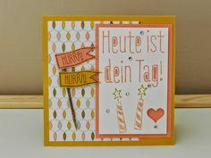 """Stampin´up! Geburtstagskarte für Mädchen in Honiggelb und Altrosé, Designpapier Schlaflied und Stempel aus dem Set """"großes Glück"""""""