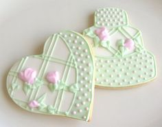 Pink and Green Collection  Wedding Cake Cookies  by lorisplace, $3.75