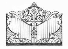 Esempio di cancello in ferro battuto Iron Gate Design, House Gate Design, Door Design, Wrought Iron Driveway Gates, Iron Garden Gates, Cnc Cutting Design, Art Nouveau Tiles, Wood Carving Designs, Art Nouveau Architecture