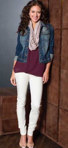 Oxblood blouse, ivory jeans, faded indigo denim jacket, pale mauve scarf, nude shoes