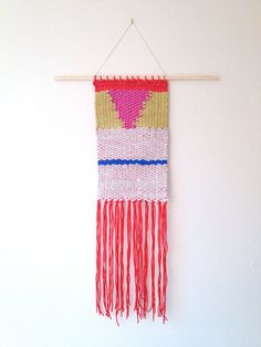 Woven tapestry cheerful wall hanging modern home by WallandWoven