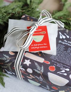 Lovely friends & neighbors Christmas gift idea with personalized recipe wrapping. Find all of the details here at ellaclaireinspired.com