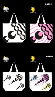 UV Color Changing Tote bag * Material: 600D polyester * Bag Size:54*42*16cm * Changing color from white to blue/yellow/pink/purple when expose to the sun * The LOGO in picture are made of UV photosensitive material,which can change colour by the intensity of the UV radiation, (the higher radiction,the darker colour) * OEM designs are welcom! www.ideagroupigm.com