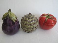 Set of 3 Ceramic Vegetable Canisters