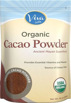 Viva Labs - The BEST Tasting Certified Organic Cacao Powder, 1 LB by Viva Labs -- Awesome products selected by Anna Churchill Clean Eating Brownies, Clean Eating Chocolate, Organic Chocolate, White Chocolate, Organic Cacao Powder, Chocolate Peanut Butter Cups, Chocolate Pudding, Chocolate Ganache, Sources Of Dietary Fiber