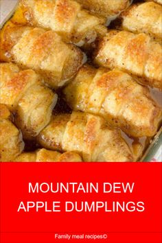 To make these puppies, you just wrap crescent roll dough around slices of apple, pour a mixture of melted butter and sugar over them, empty out some Mountain Dew from the can on top of Apple Crescent Rolls, Crescent Roll Apple Dumplings, Easy Apple Dumplings, Apple Dumpling Recipe, Crescent Roll Recipes, Apple Dumplings With Mountain Dew Recipe, Pioneer Woman Apple Dumplings, Crescent Dough, Apple Deserts