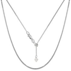 14K White Gold Adjustable Box Link Chain - Width 1.1mm - Lenght 22 Inch