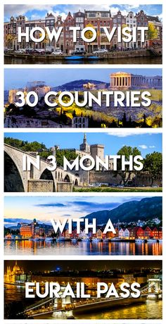 "How to visit 30 countries in 3 months with a Eurail Pass. This guide will give you the exact itinerary to visit every country with a Eurail Global Pass, including the ""bonus countries"" not advertised on the pass. Europe Train Travel, Travel Around Europe, Europe Travel Tips, Travel Around The World, Places To Travel, Travel List, Traveling Europe, Travel Packing, Budget Travel"