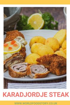 Karadjordje steak is considered to be a traditional Serbian dish. It can be found on the menus of almost all traditional restaurants. Karadjordje steak consists of rolled pork or veal steak stuffed with crème fraiche, that is breaded and then fried.Unlike other traditional dishes, where it is difficult to determine the origin, its origin is very well documented. This is an original dish created by Chef Milovan Mica Stojanovic in 1955, at Belgrade restaurant Golf .