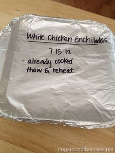freezer meal white chicken enchiladas. prepare and bake. serve with a salad or rice/beans