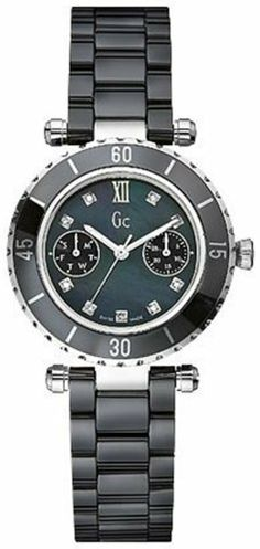 GUESS Gc DIVER CHIC Diamond Dial Black Ceramic GUESS. $379.00. Sapphire Crystal. Luxury Gc gift box packaging included .. Water resistant to 100 meters. Women's watch. Push-button deployment clasp