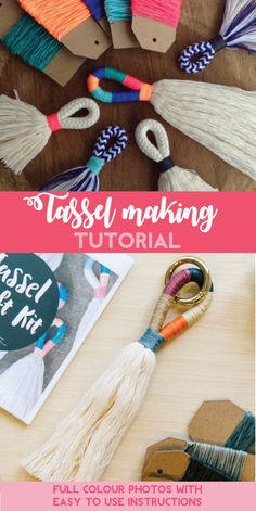 Tassel Making TUTORIAL! Make your own large or mini tassels with my awesome PDF download, full colour photos with easy to use instructions. #tassels #ad