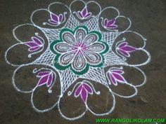 Navarathri kolam Flower kolam without dot in free hand style on navarathri day 2