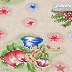 Jubelis Wachstuch Tischbelag Fur Weihnachten Mit Roten Und Blauen Kugeln Weihnachten Kugeln Wachstuch Tuch