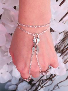 Heart Locket Slave Bracelet Ring with by TheMysticalOasisGlow, $21.00