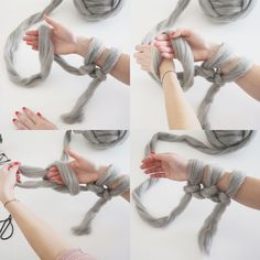 How To Arm Knit Tutorial on MadeUpStyle #knitting DIY Giant Arm Knitted Blanket