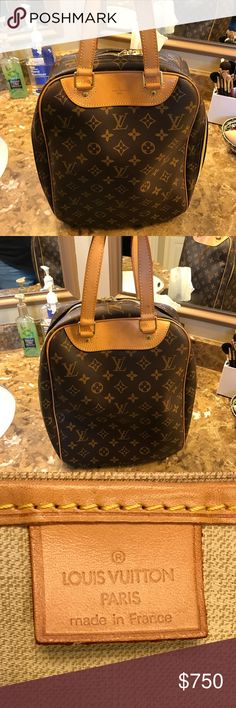 Auth Louis Vuitton Excursion This is an authentic LV Excursion, date code VI0051. Please see all photos, including the ADDITIONAL PHOTOS in a separate listing in my closet. Light patina on the leather and several marks and water spots on the leather. These are not very noticeable when the bag is carried, and they are all pictured in the photos. Inside of the bag is clean with no spots or pen marks on the fabric. No scuffs on the monogram canvas or flaws on the piping. NO TRADES. Will…