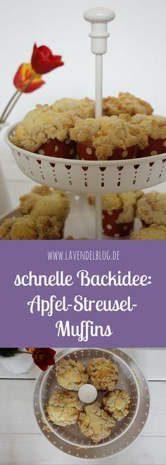 Schnelle Backidee: Die Apfel-Streusel-Muffins sind bei uns sehr beliebt. Ein saftiger Muffinteig und knusprige Streusel mit Zimt machen die Apfel Muffins zu einem Leckerbissen. Das Streusel Rezept und das Muffinteig Rezept findet ihr im Blog.