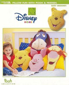 Winnie the Pooh ~ Pillow Fun with Pooh & Friends crochet patterns OOP rare