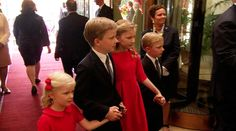 hrhroyalty:  Children of King Philippe and Queen Mathilde of Belgium-Princess Eléonore, Prince Gabriel Crown Princess Mathilde (Duchess of Brabant), and Prince Emmanuel, July 21, 2013