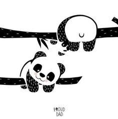 Animals Drawing Hang in there! cute panda bear children illustration / black and white animals drawing for kids / monochrome art for nursery room by Proud Dad - Cute Panda Drawing, Drawing For Kids, Art For Kids, Art Children, Drawing Art, Children Drawing, Young Children, Drawing Ideas, Panda Illustration