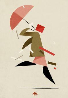 """""""Figura di fretta con cappotto marrone sopra pozzanghera"""" via Riccardo Guasco Artwork. Click on the image to see more!"""