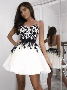 A-line Black Lace Appliques Sleeveless White Short Homecoming Dress, HD0403#homecoming #homecomingdresses #2020homecoming #homecomingdress