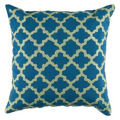 Rizzy Home Embroidered Trellis Pattern Decorative Throw Pillow Peacock Blue - T04066