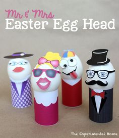 Mr and Mrs Easter Egg Head at theexperimentalhome.com
