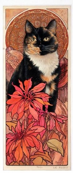 LE RUBIS in MOTHER AND DAUGHTER - ALPHONSE MUCHA'S JEWEL PANELS LESLEY ANNE… #CatArt