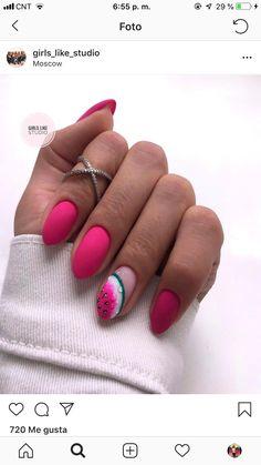 Shellac Nails, Nail Manicure, Diy Nails, Watermelon Nail Designs, Watermelon Nails, Stylish Nails, Trendy Nails, Camo Nails, Luxury Nails