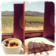 NAPA WINE TRAIN: Creme brûlée, Chocolate caramel tart. Reviews: 2 bites. It's ok.