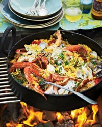 Easy Grilled Paella Recipe on Food & Wine