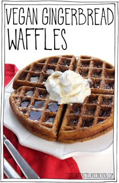The perfect easy vegan breakfast recipe for Christmas… Vegan Gingerbread Waffles! The perfect easy vegan breakfast recipe for Christmas morning or the holiday season. via It Doesn't Taste Like Chicken Low Carb Vegan Breakfast, Vegan Breakfast Recipes, Vegan Recipes, Vegan Breakfast Casserole, Breakfast Waffles, Free Recipes, Cooking Recipes, Vegan Foods, Vegan Dishes