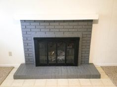 Update that fireplace with a DIY floating mantle! I walk you step by step on how to build a floating mantle and how to instal it. A floating mantle piece can make a huge update on a budget! Painted Brick Fireplaces, Grey Fireplace, Paint Fireplace, Brick Fireplace Makeover, Home Fireplace, Fireplace Remodel, Fireplace Inserts, Fireplace Ideas, Basement Fireplace