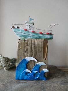 Clay fishing boat with seagull and waves, green, blue and white, mounted on driftwood, original rustic art by Margesgallery on Etsy