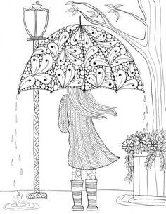 Prettiest Umbrella Girl Coloring Page | FaveCrafts.com