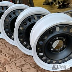 Prismatic Powders - White And Black Two Toned Toyota Wheels Truck Rims, Truck Wheels, Jeep Truck, Rims For Cars, Rims And Tires, Custom Moped, Custom Trucks, Corsa Wind, Racing Rims